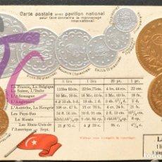 Postales: ANTIGUA POSTAL PABELLON NACIONAL FRANCIA MONEDAS DEL MUNDO TURQUIA. Lote 199211182