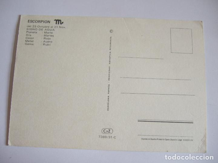 Postales: POSTAL HOROSCOPO - SIGNO DEL ZODIACO - ESCORPION - 1972 - CYZ 7369/31-C - Foto 2 - 202764641