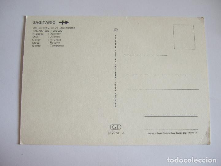 Postales: POSTAL HOROSCOPO - SIGNO DEL ZODIACO - SAGITARIO - 1972 - CYZ 7370/31-A - Foto 2 - 202764745