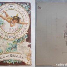 Postales: FELICITACIÓN CALENDARIO. RELIEVE, MOVIMIENTO ÁNGEL PARA DÍA Y RUEDAS MES Y DÍA SEMANA 1906. ED TC. Lote 203475397