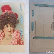 Postales: JOVEN CON PELO MOHAIR, CINTA AZUL.. Lote 203808772