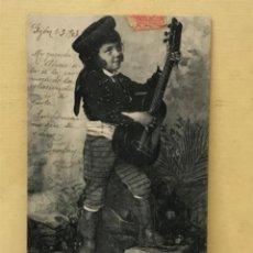 Postales: ANTIGUA POSTAL COLECCION CURRITO 1 NIÑO DISFRAZ BANDOLERO CURRO JIMENEZ PACHECO FOT LAURENT 1903. Lote 207838038