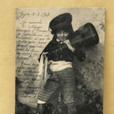Postales: ANTIGUA POSTAL COLECCION CURRITO 3 NIÑO DISFRAZ BANDOLERO CURRO JIMENEZ PACHECO FOT LAURENT 1903. Lote 207838196