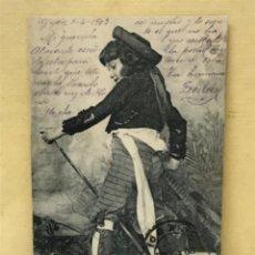 Postales: ANTIGUA POSTAL COLECCION CURRITO 6 NIÑO DISFRAZ BANDOLERO CURRO JIMENEZ PACHECO FOT LAURENT 1903. Lote 207838320