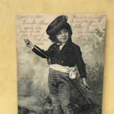 Postales: ANTIGUA POSTAL COLECCION CURRITO 7 NIÑO DISFRAZ BANDOLERO CURRO JIMENEZ PACHECO FOT LAURENT 1903. Lote 207838365