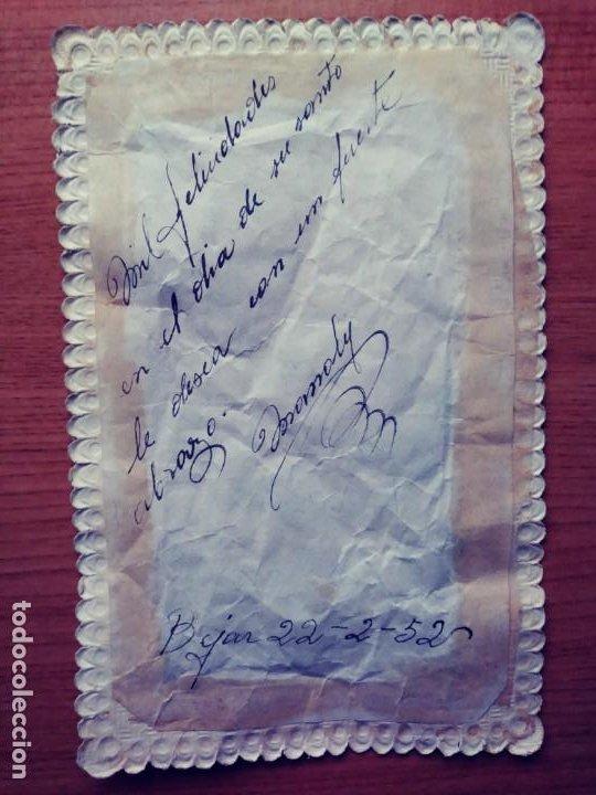 Postales: Muchas felicidades: 1952. Papel y tela. - Foto 2 - 209256431