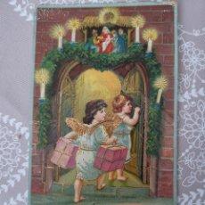 Cartes Postales: PRECIOSA POSTAL DE 1910, ÁNGELES. CON ALAS DORADAS Y LIGERO RELIEVE. TORELLÓ. Lote 209764862