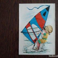 Postales: POSTAL DE ESPAÑA, BORDADA EN HILO, CHICA HACIENDO SURF.. Lote 211891627