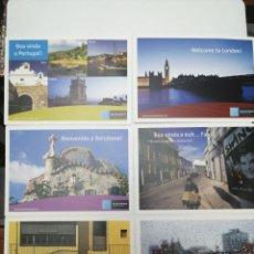 Postales: BRUSSELS AIRPORT. 6 POSTALES. FARO, LONDRES, BARCELONA,. Lote 212409897