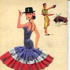 Postales: POSTAL CON BORDADO Y TELA (EXCLUSIVAS C.RIVAS 1963). Lote 217507203