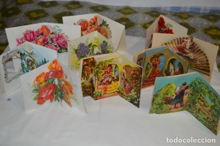 Postales: De colección, vintage, antiguos / Lote 10 Felicitaciones / Dioramas - ¡Mira, preciosos! - Foto 2 - 220477513