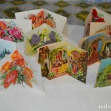 Postales: DE COLECCIÓN, VINTAGE, ANTIGUOS / LOTE 10 FELICITACIONES / DIORAMAS - ¡MIRA, PRECIOSOS!. Lote 220477513