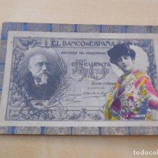 Postales: POSTAL ANTIGUA BILLETE DE 50 PESETAS AÑO 1905. Lote 221146886