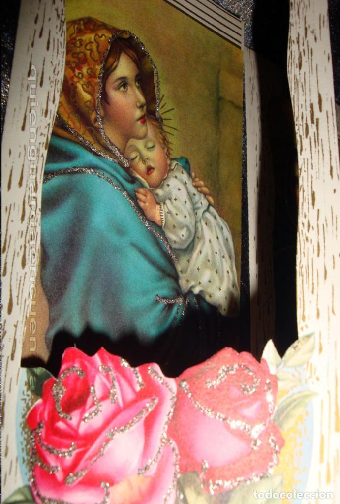 Postales: Postal años 60 troquelada la Virgen madre y niño con purpurina, especial regalo Navidad o para mamá - Foto 2 - 223549056