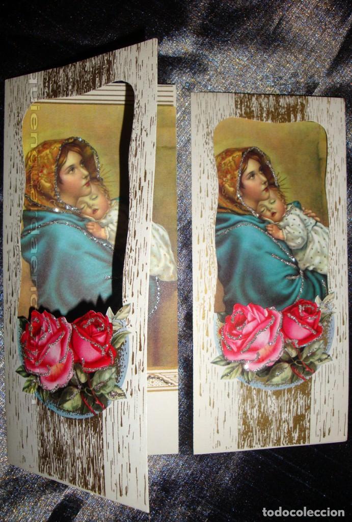 Postales: Postal años 60 troquelada la Virgen madre y niño con purpurina, especial regalo Navidad o para mamá - Foto 3 - 223549056