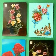 Postales: LOTE 4 POSTALES DE FLORES NATURALES (AÑOS 60) FELICITACION, ROSAS. Lote 224013796