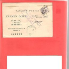 Postales: TARJETA POSTAL CARMEN OLIET HUESCA CENSURA MILITAR HUESCA ,ESCRITO CIRCULADO ENERO 1939 CON SELLO. Lote 224416750