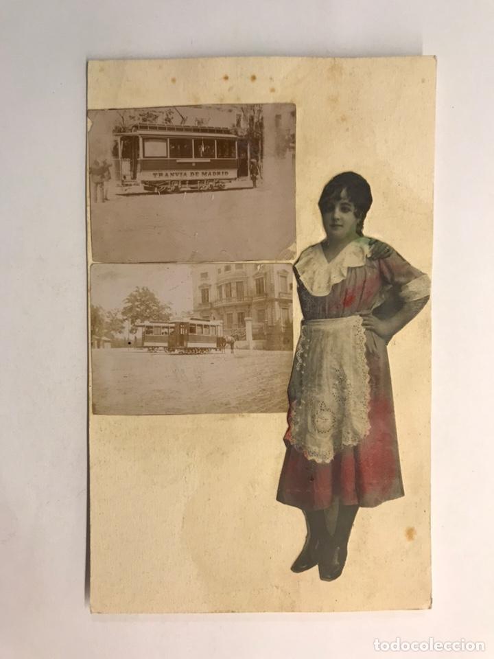 MADRID. POSTAL COLLAGE. RECORTES FOTOGRAFÍCOS. TRANVÍA DE MADRID.. (H.1930?) (Postales - Postales Temáticas - Especiales)