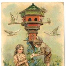 Postales: POS ALEMANA - NIÑOS, CARTA Y PALOMAS - 1900.. Lote 230790480
