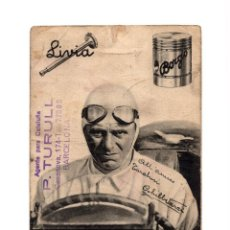 Postales: AUTOGRAFO ORIGINAL ACHILLE VARZI. PILOTO ITALIANO DE AUTOMOVILISMO. VALVULAS LIVIA Y PITÓN BORGO.. Lote 234358490