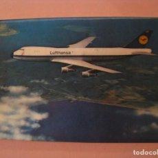 Postales: POSTAL STEREO, 3D, LENTICULAR. AVION BOEING 747, LUFTHANSA. CIRCULADA. 1971.. Lote 243087465