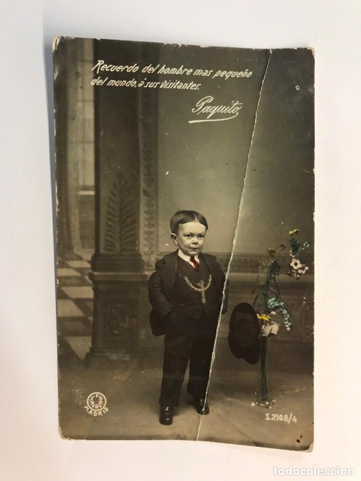 PAQUITO. POSTAL FOTOGRÁFICA. RECUERDO DEL HOMBRE MÁS PEQUEÑO DEL MUNDO, E. R. MADRID (A.1917) (Postales - Postales Temáticas - Especiales)
