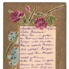 Postales: FLORES Y TREBOS DE CUATRO HOJAS - CON BRILLANTINAS - CIRCULADA EN 1915 - SELLO DE URUGUAY. Lote 265855409