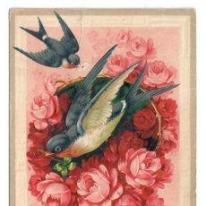 Postales: AVES Y FLORES - CIRCULADA EN 1911 - IMPRESA EN ALEMANIA. Lote 265856269