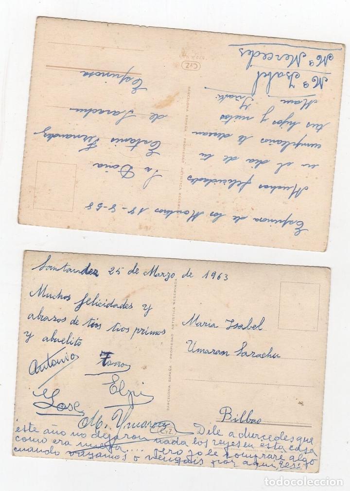 Postales: LOTE DE 2 TARJETAS POSTALES FLORES CON BRILLANTINA. AÑOS 1958 Y 1963 - Foto 2 - 268821139