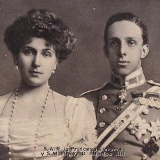 Postais: MONARQUIA, REY ALFONSO XIII Y PRINCESA VICTORIA. POSTAL FOTOGRAFICA CIRCULADA EN1906. Lote 274421328