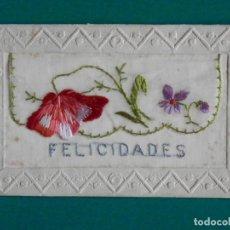 Postales: POSTAL BORDADA AÑO 1923 SOBRE TELA SEDA - FELICIDADES. Lote 293175533