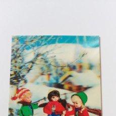 Postales: POSTAL 3D - NIÑAS CON TRINEO EN LA NIEVE. Lote 296629398