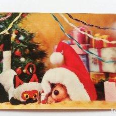 Postales: POSTAL 3D - PERRO Y GATO NAVIDAD. Lote 296629958