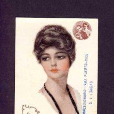 Postales: POSTAL ILUSTRADA: MUJER ART DECO (CON PUBLICIDAD DE FOSFO-GLICO-KOLA DOMENECH). Lote 5623181