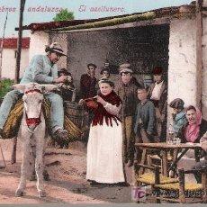 Postales: COSTUMBRES ANDALUZAS. EL ACEITUNERO. PURGER & CO. ANTERIOR A 1906. NO CIRCULADA. Lote 14576507