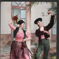 Postales: COSTUMBRES ANDALUZAS. LA MALAGUEÑA Y EL TORERO. COL. TOMÁS SANZ Nº 23. ANTERIOR A 1906. Lote 14668443