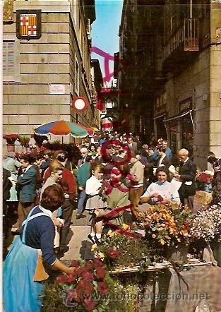 POSTAL A COLOR Nº 1321 BARCELONA TIPICA FESTIVITAT DE SANT JORDI DIA DE LA ROSA ESCRITA 1966 ESCUDO (Postales - Postales Temáticas - Estilo)