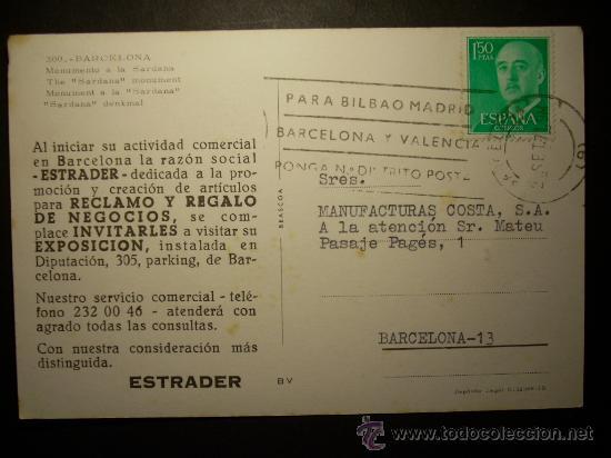 Postales: 7645 ESPAÑA SPAIN CATALUÑA BARCELONA MONUMENTO A LA SARDANA AÑOS 60/70 CIRCULADA TENGO MAS POSTALES - Foto 2 - 23410788