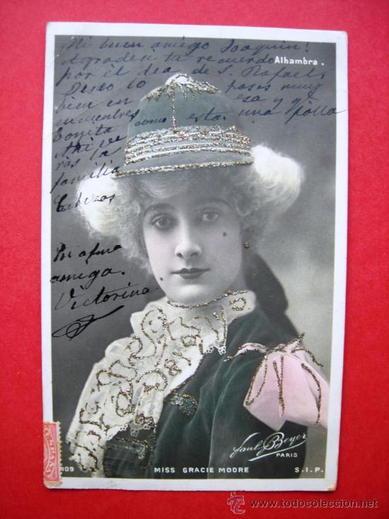 MISS GRACIE MOORE - PAUL BOYER - PARIS - ALHAMBRE - SELLO ALFONSO XIII DE NIÑO (Postales - Postales Temáticas - Estilo)