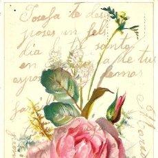 Postales: POSTAL CON MOTIVO FLORAL MANUSCRITA Y FECHADA EN 1910 - MONOVAR (ALICANTE). Lote 24691998