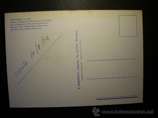 Postales: 8900 ESPAÑA SPAIN CATALUÑA BARCELONA PARQUE DE MONTJUICH POSTCARD AÑOS 70 ESCRITA TENGO MAS POSTALES - Foto 2 - 24764049
