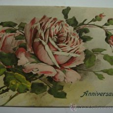 Cartes Postales: 118 PRECIOSA POSTAL FELICITACION DE CUMPLEAÑOS BIRTHDAY ROSA FLOR FLORES FLOWERS AÑOS 1900/20. Lote 28242183