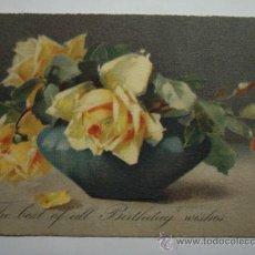 Cartes Postales: 120 PRECIOSA POSTAL FELICITACION DE CUMPLEAÑOS BIRTHDAY ROSA FLOR FLORES FLOWERS AÑOS 1900/20. Lote 28242194