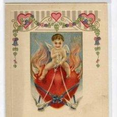 Postales: POSTAL MODERNISTA - ART NOUVEAU, DÍA DE SAN VALENTIN, ANGELITO EN CORAZON TIRADO POR PALOMAS. Lote 31217099
