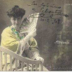 Postales: PS3074 POSTAL FOTOGRÁFICA 'EL LENGUAJE DEL ABANICO - LOLITA BREMÓN'. CIRCULADA EN 1908. Lote 31843221