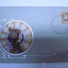 Postales: POSTAL MODERNISTA MUJER CON ADORNOS PLATEADOS EN RELIEVE,SIN DIVIDIR,CIRCULADA 1903 SELLO. Lote 32861521