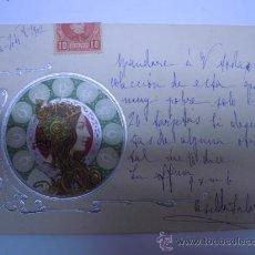Postales: POSTAL MODERNISTA MUJER CON ADORNOS PLATEADOS EN RELIEVE,SIN DIVIDIR,CIRCULADA 1902 SELLO. Lote 32861601