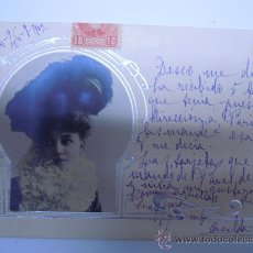Postales: POSTAL MODERNISTA MUJER CON ADORNOS PLATEADOS EN RELIEVE,SIN DIVIDIR,CIRCULADA 1902 SELLO. Lote 32861625