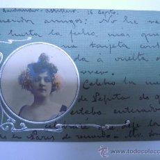 Postales: POSTAL MODERNISTA MUJER CON ADORNOS PLATEADOS EN RELIEVE,SIN DIVIDIR,CIRCULADA ENTRE 1902 1903 SELLO. Lote 32861644