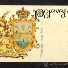 Postales: POSTAL CON EL ESCUDO DE LA PROVINCIA DE PONTEVEDRA (LIT. HERMENEGILDO MIRALLES NUM. 30). Lote 35870564